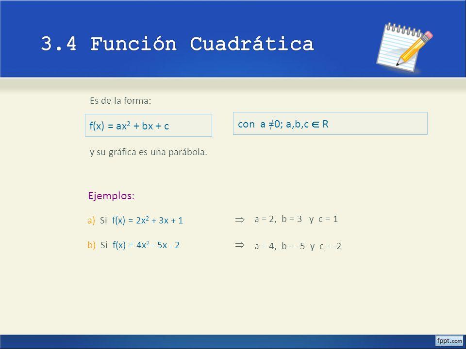3.4 Función Cuadrática con a =0; a,b,c  R f(x) = ax2 + bx + c
