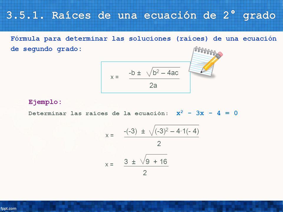 3.5.1. Raíces de una ecuación de 2° grado