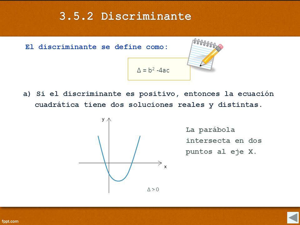 3.5.2 Discriminante El discriminante se define como: Δ = b2 -4ac