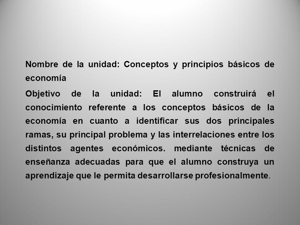 Nombre de la unidad: Conceptos y principios básicos de economía