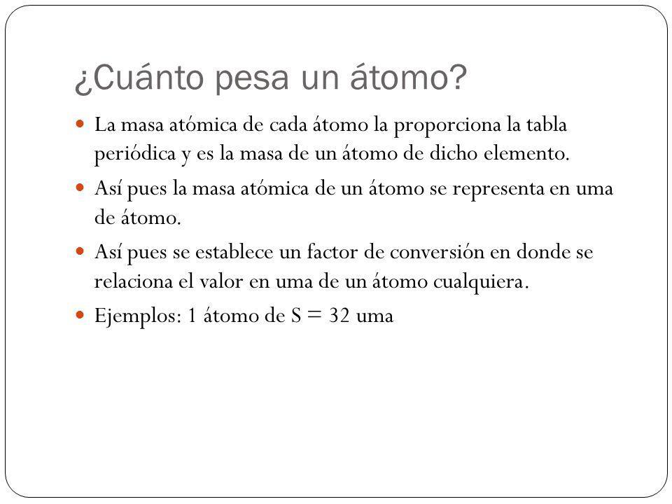 ¿Cuánto pesa un átomo La masa atómica de cada átomo la proporciona la tabla periódica y es la masa de un átomo de dicho elemento.