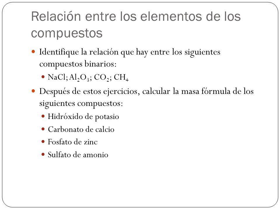 Relación entre los elementos de los compuestos