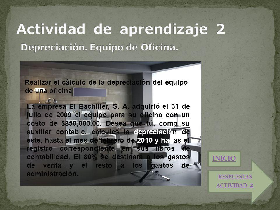 Actividad de aprendizaje 2 Depreciación. Equipo de Oficina.