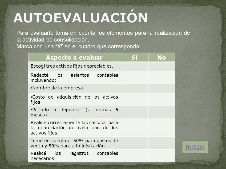 AUTOEVALUACIÓN Para evaluarte toma en cuenta los elementos para la realización de la actividad de consolidación.