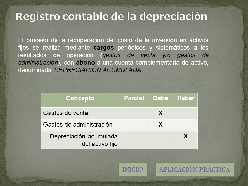 Registro contable de la depreciación