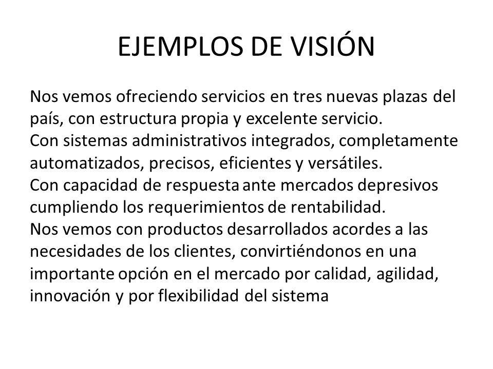 EJEMPLOS DE VISIÓN Nos vemos ofreciendo servicios en tres nuevas plazas del. país, con estructura propia y excelente servicio.