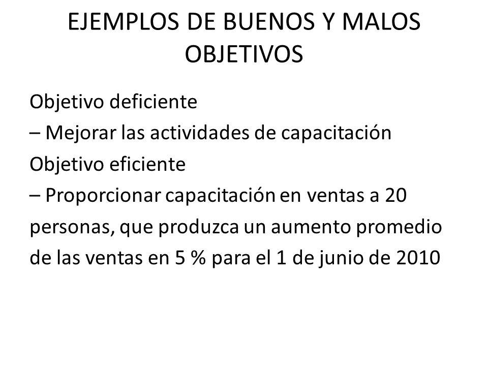 EJEMPLOS DE BUENOS Y MALOS OBJETIVOS