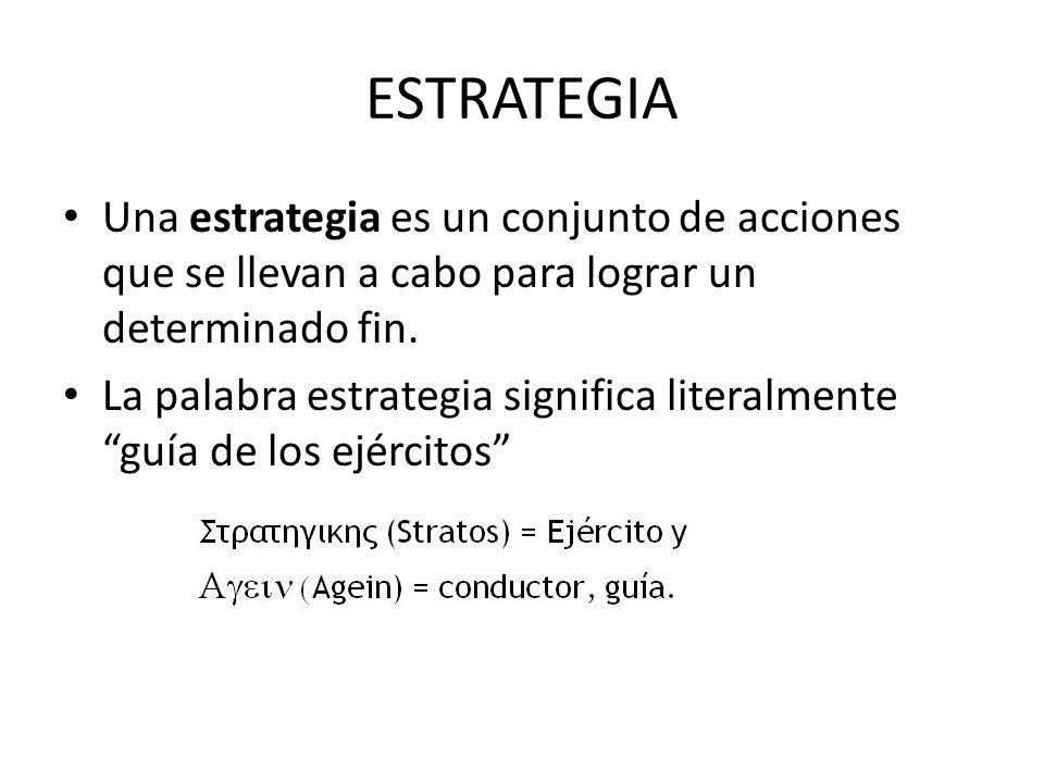 ESTRATEGIA Una estrategia es un conjunto de acciones que se llevan a cabo para lograr un determinado fin.