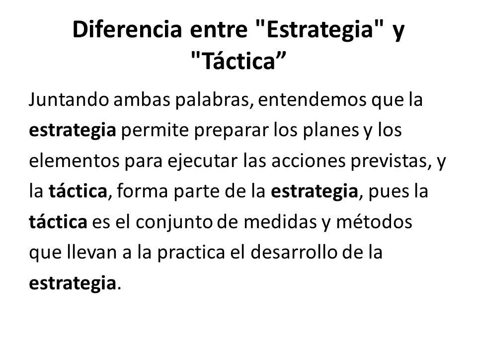 Diferencia entre Estrategia y Táctica