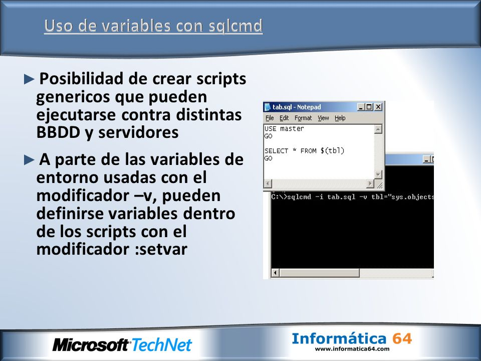 Uso de variables con sqlcmd