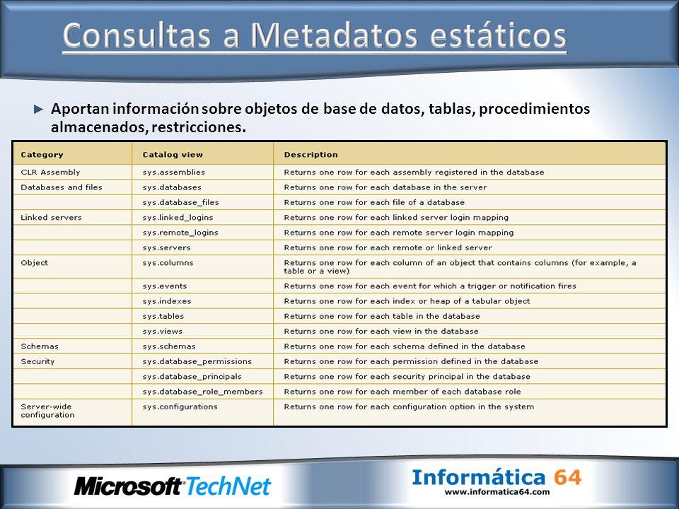 Consultas a Metadatos estáticos