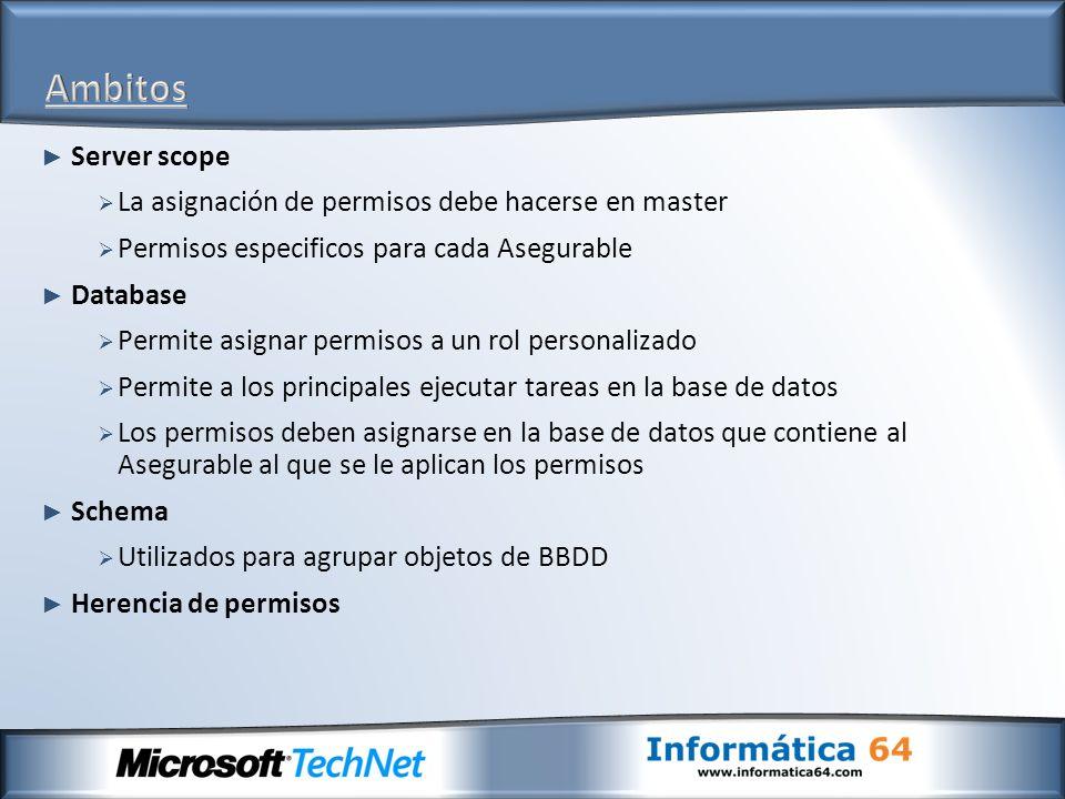 Ambitos Server scope La asignación de permisos debe hacerse en master