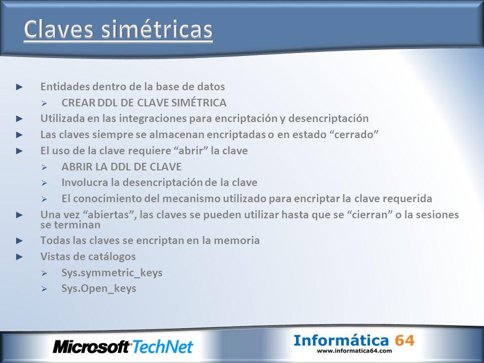Claves simétricas Entidades dentro de la base de datos