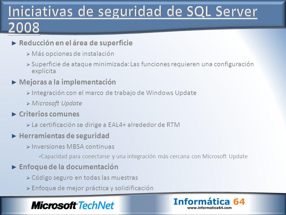 Iniciativas de seguridad de SQL Server 2008