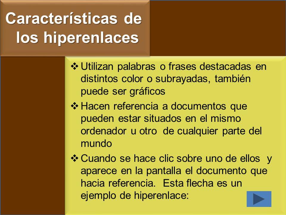 Características de los hiperenlaces