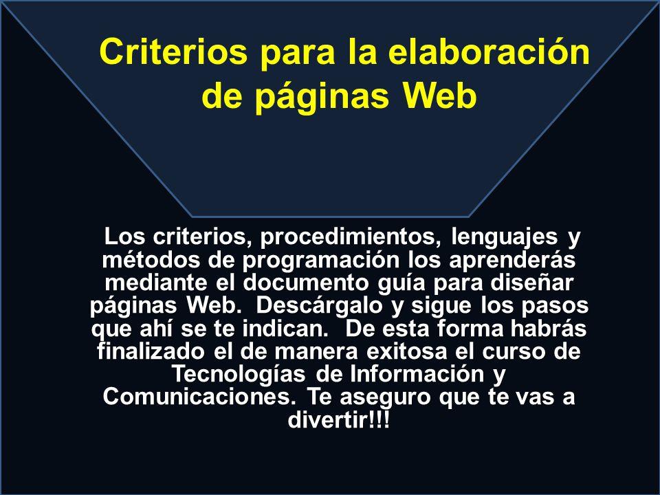 Criterios para la elaboración de páginas Web