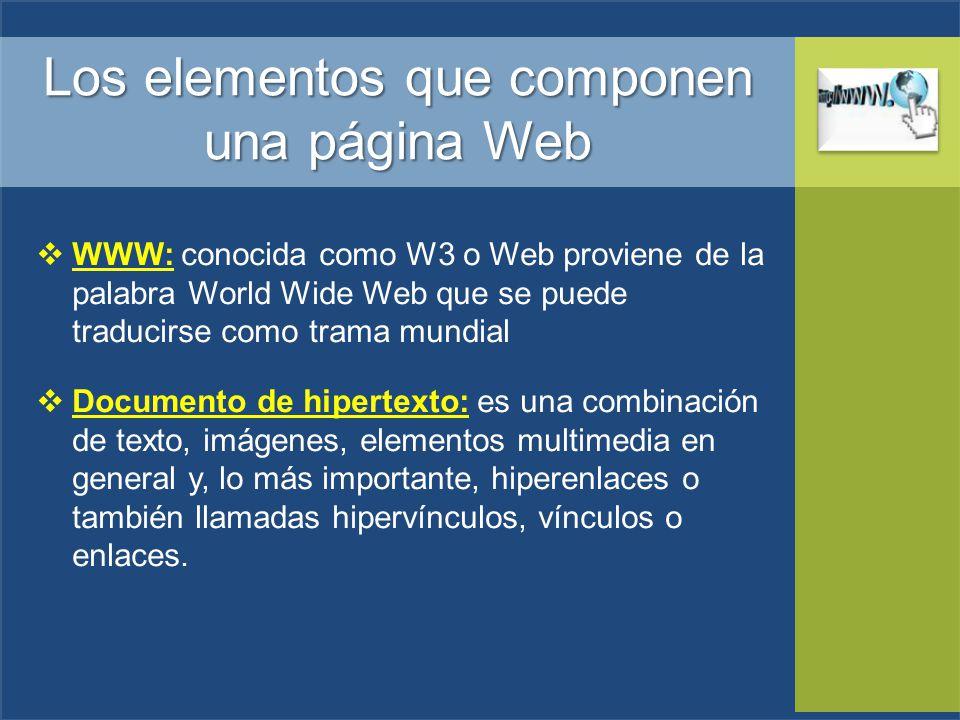 Los elementos que componen una página Web