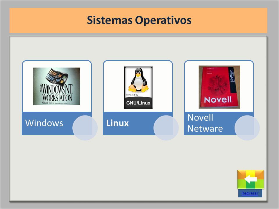 Sistemas Operativos Windows Linux Novell Netware Regresar