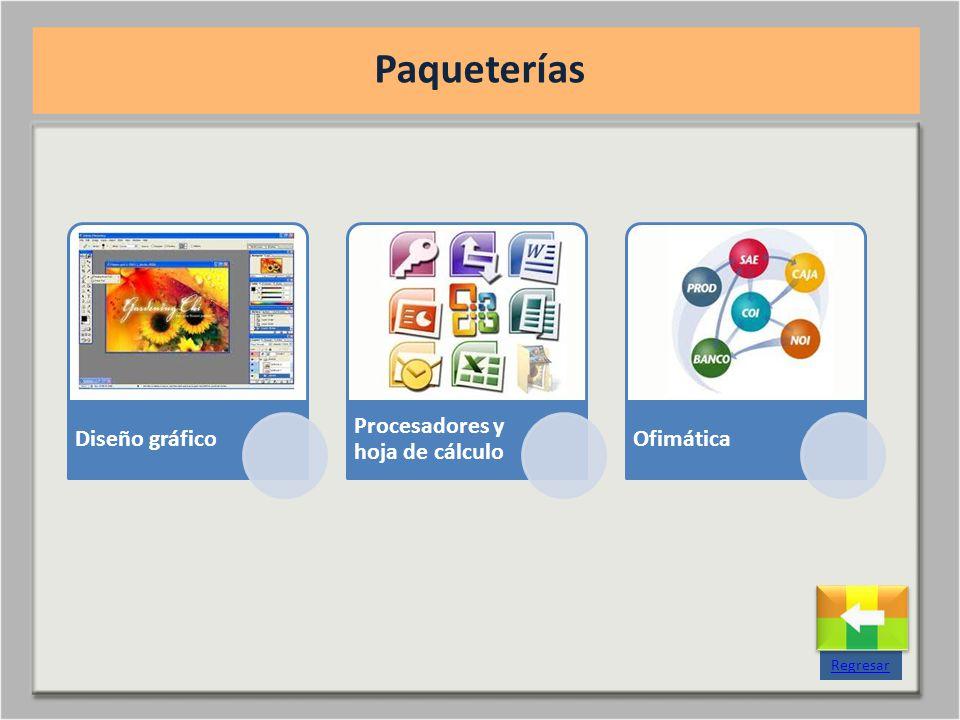 Paqueterías Regresar Diseño gráfico Procesadores y hoja de cálculo