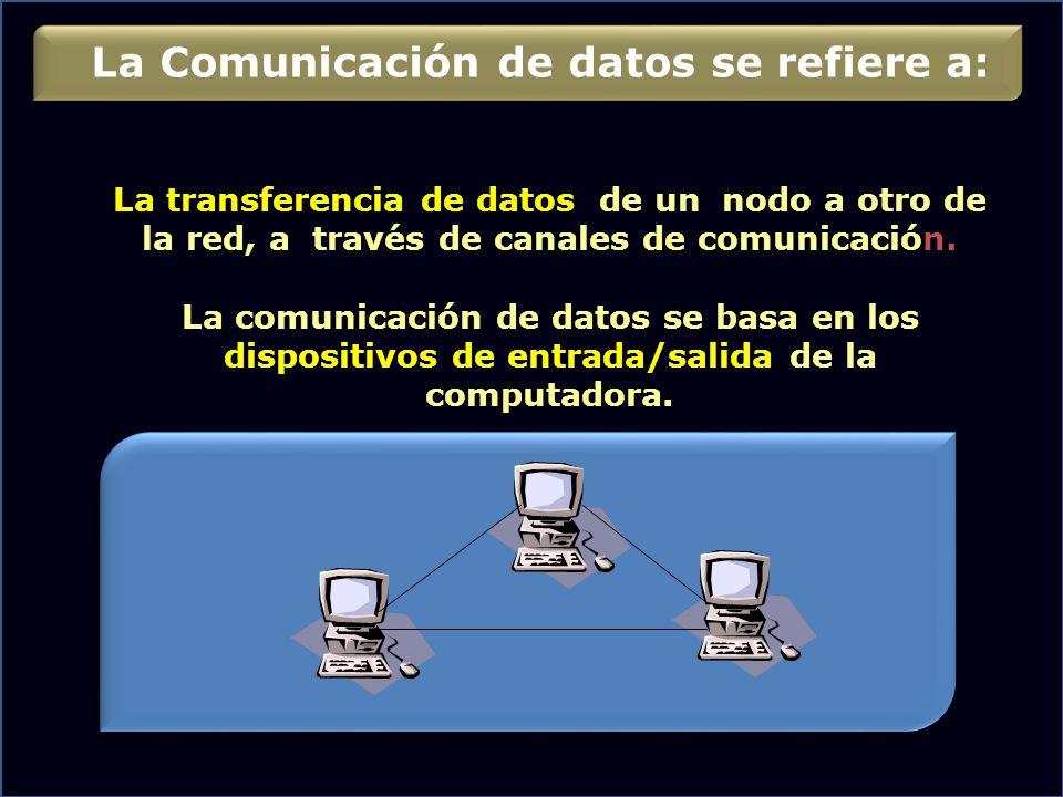 La Comunicación de datos se refiere a: