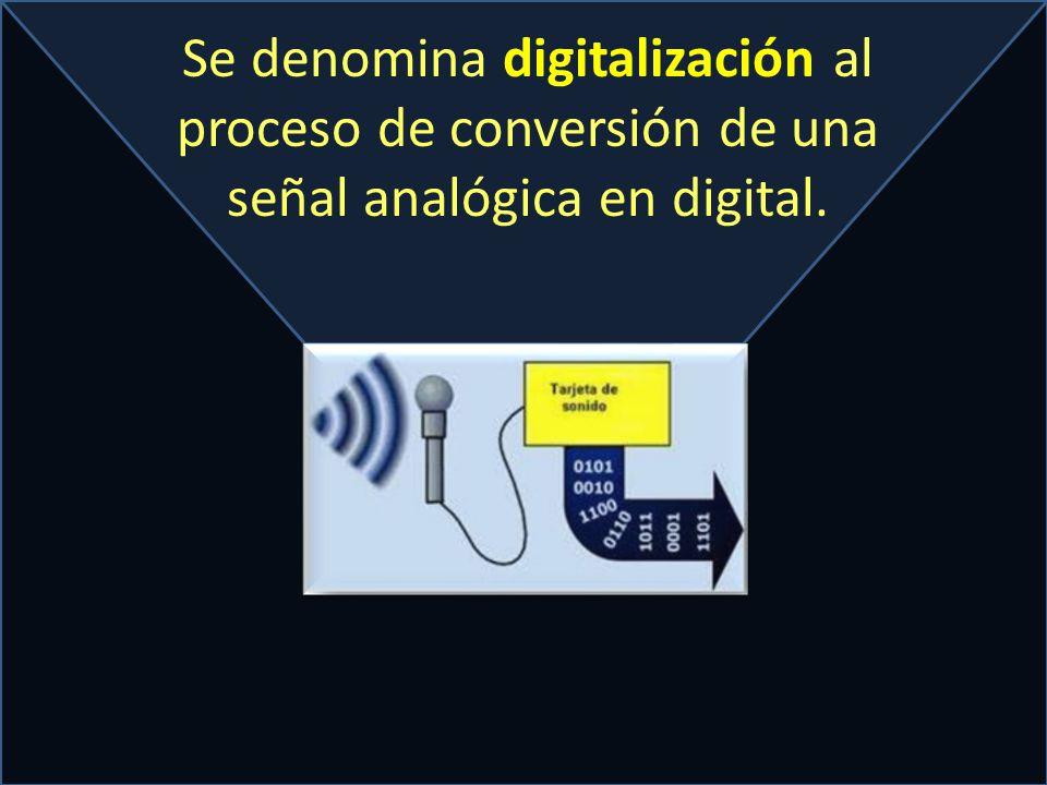 Se denomina digitalización al proceso de conversión de una señal analógica en digital.