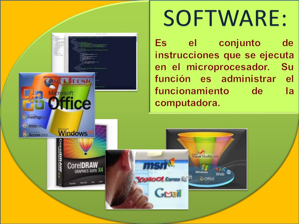 SOFTWARE: Es el conjunto de instrucciones que se ejecuta en el microprocesador.