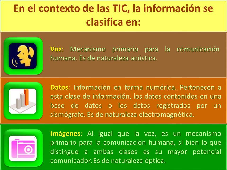 En el contexto de las TIC, la información se clasifica en:
