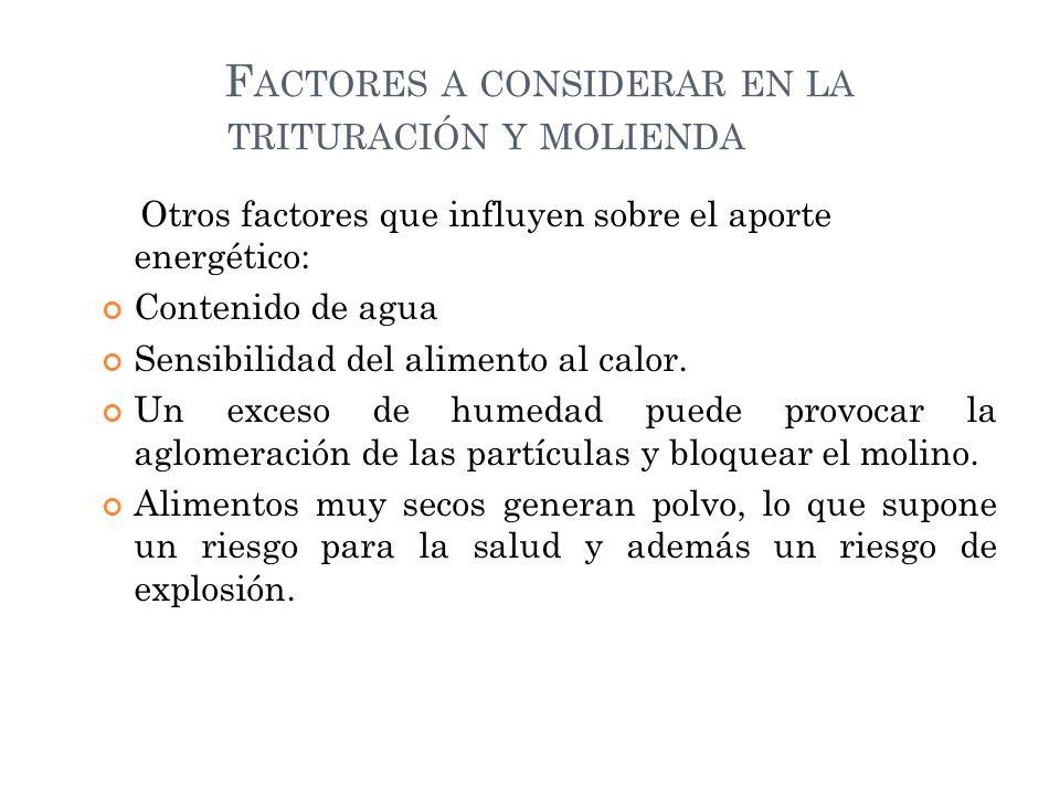 Factores a considerar en la trituración y molienda