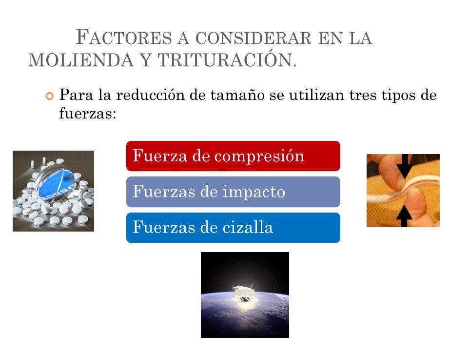 Factores a considerar en la MOLIENDA Y TRITURACIÓN.