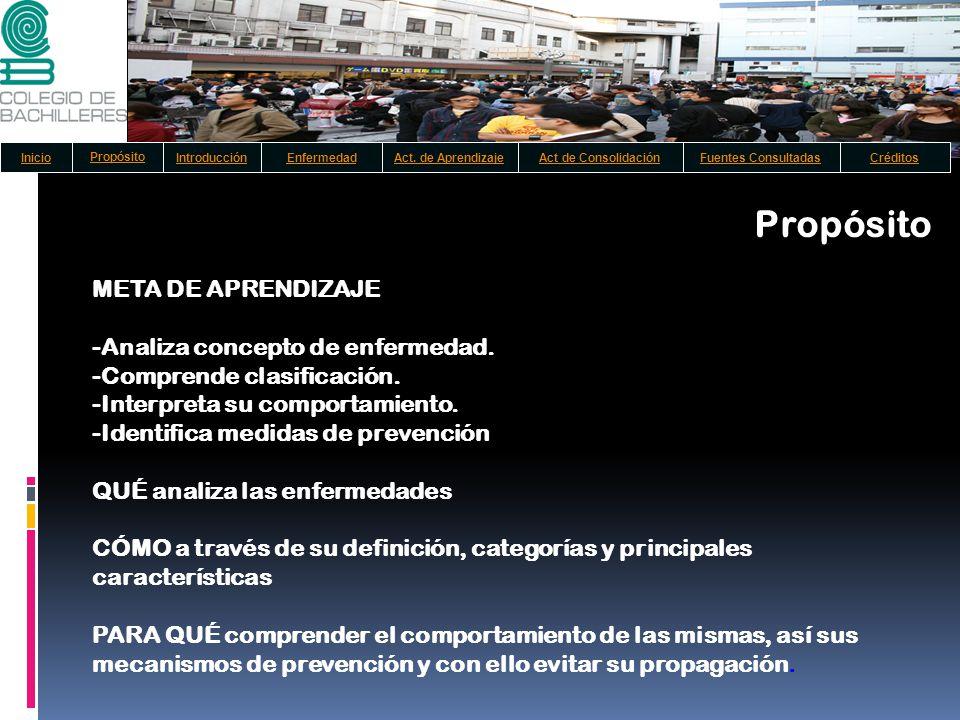 Propósito META DE APRENDIZAJE -Analiza concepto de enfermedad.