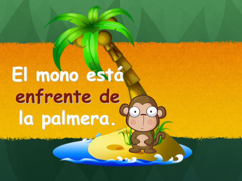 El mono está enfrente de la palmera. enfrente de