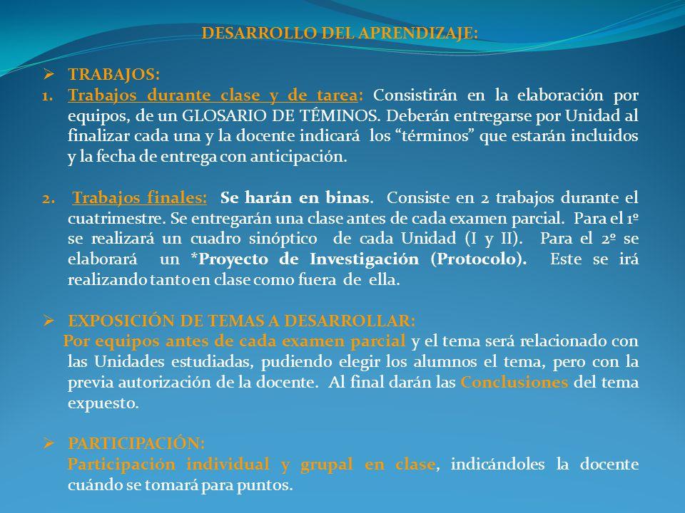 DESARROLLO DEL APRENDIZAJE:
