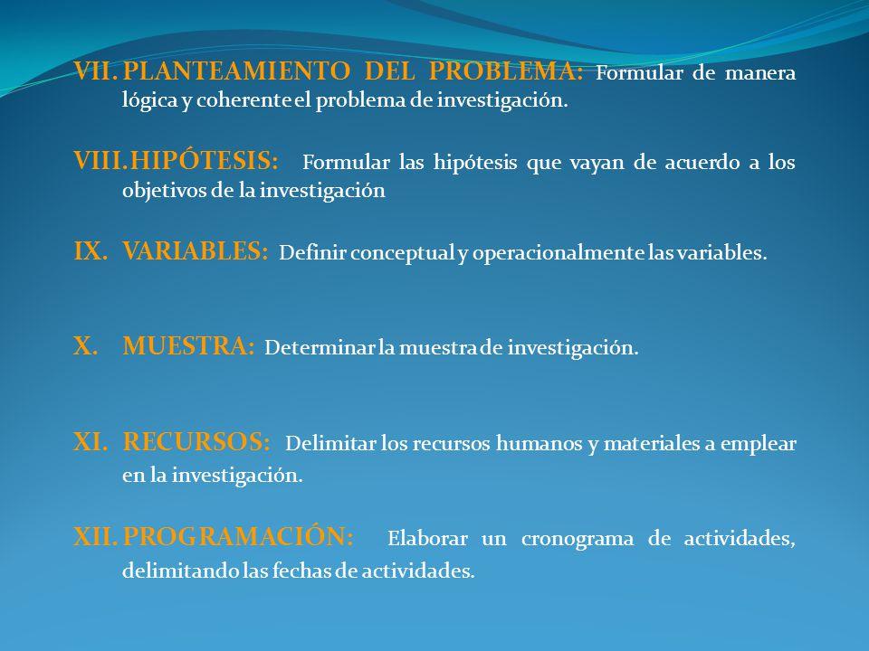 PLANTEAMIENTO DEL PROBLEMA: Formular de manera lógica y coherente el problema de investigación.