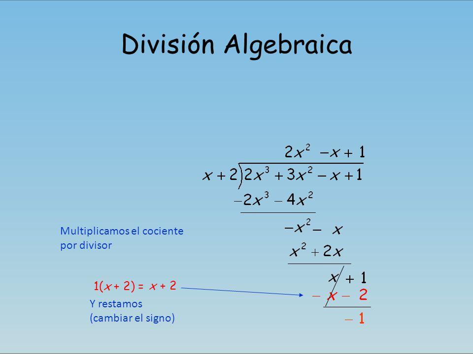 División Algebraica Multiplicamos el cociente por divisor 1(x + 2) = x