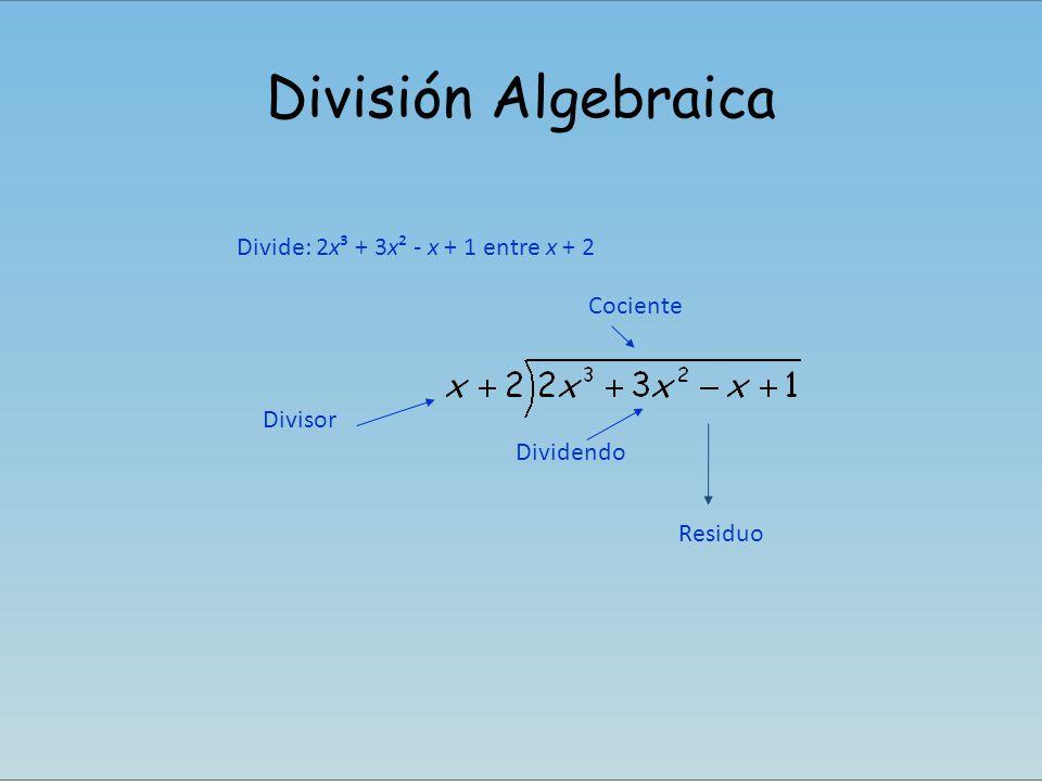 División Algebraica Divide: 2x³ + 3x² - x + 1 entre x + 2 Cociente