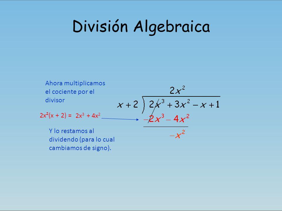 División Algebraica Ahora multiplicamos el cociente por el divisor