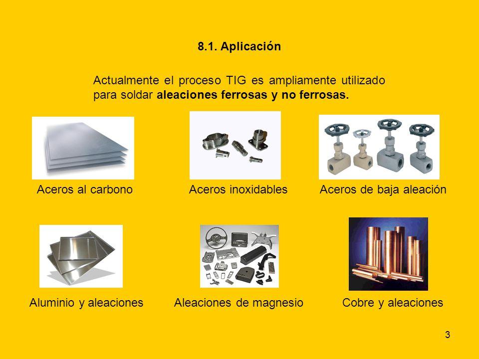 8.1. Aplicación Actualmente el proceso TIG es ampliamente utilizado para soldar aleaciones ferrosas y no ferrosas.