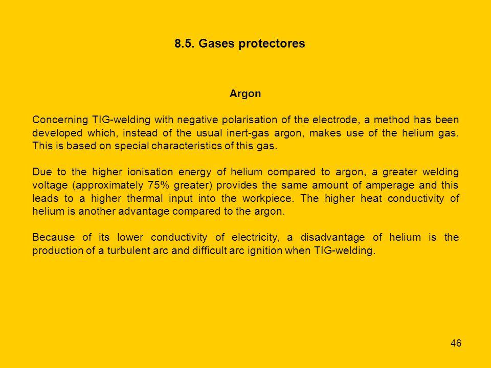 8.5. Gases protectores Argon