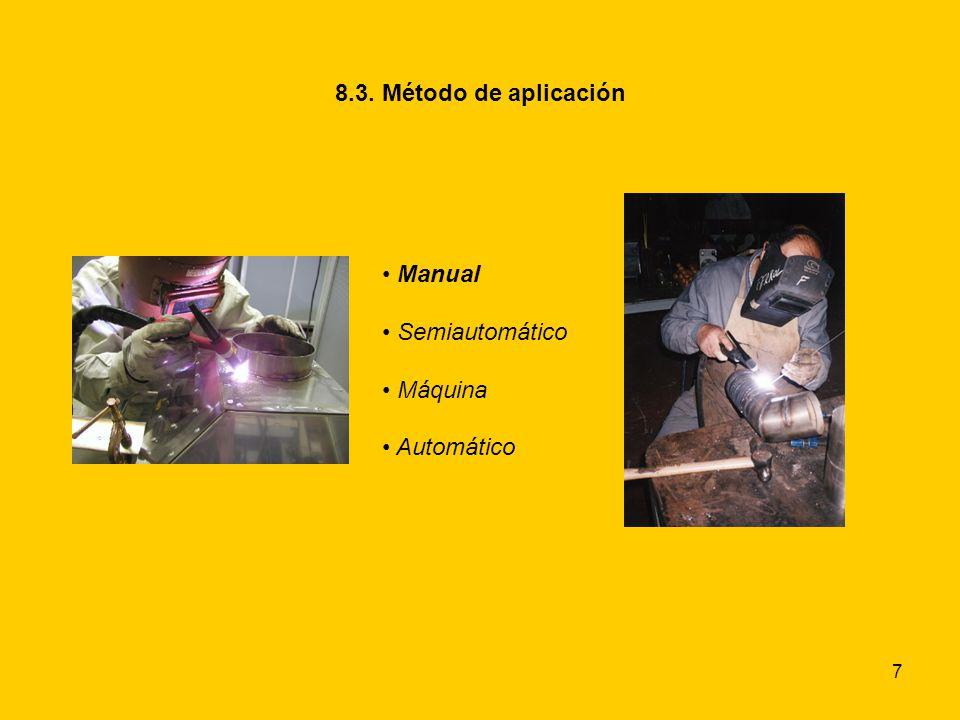 8.3. Método de aplicación Manual Semiautomático Máquina Automático