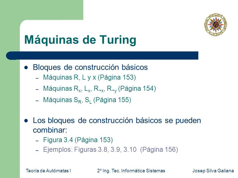 Máquinas de Turing Bloques de construcción básicos