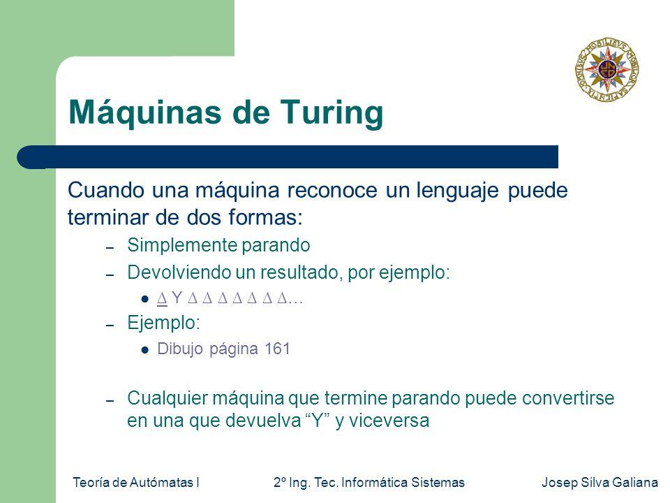 Máquinas de Turing Cuando una máquina reconoce un lenguaje puede terminar de dos formas: Simplemente parando.