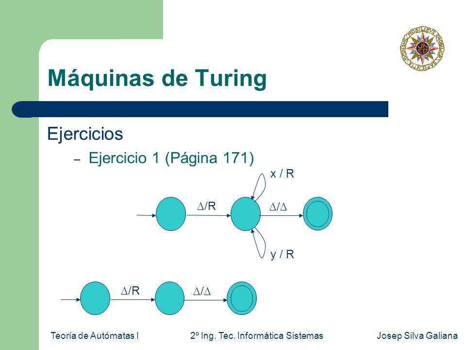 Máquinas de Turing Ejercicios Ejercicio 1 (Página 171) x / R ∆/R ∆/∆