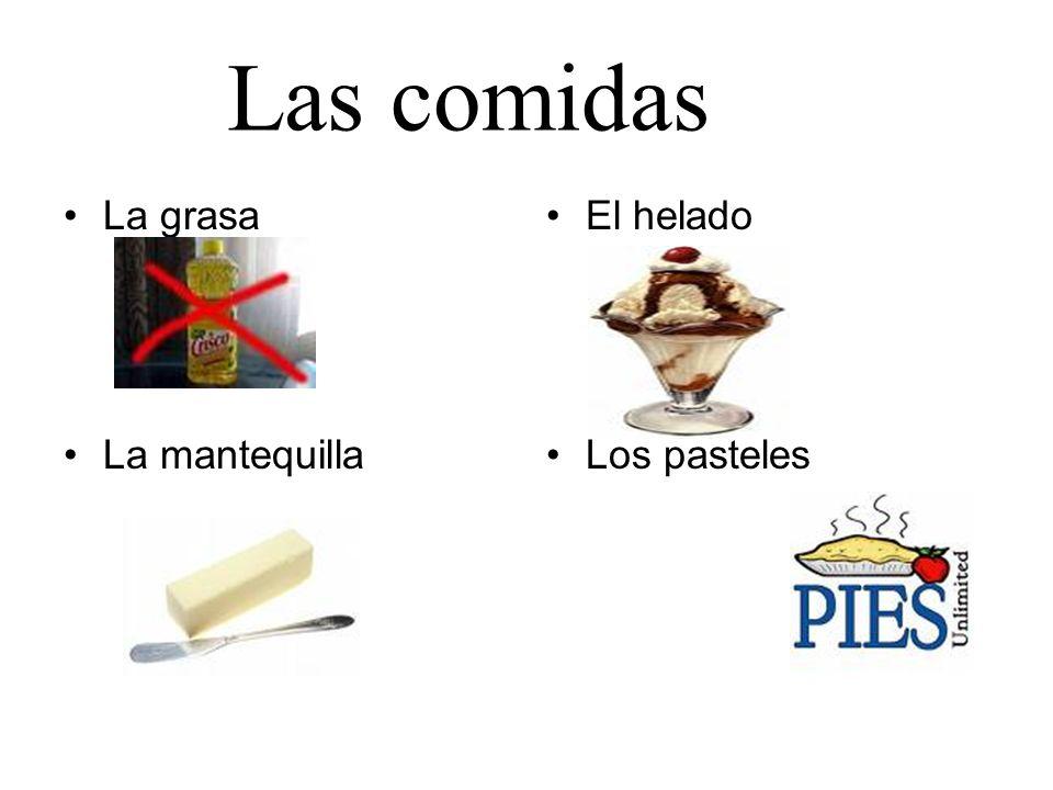 Las comidas La grasa La mantequilla El helado Los pasteles