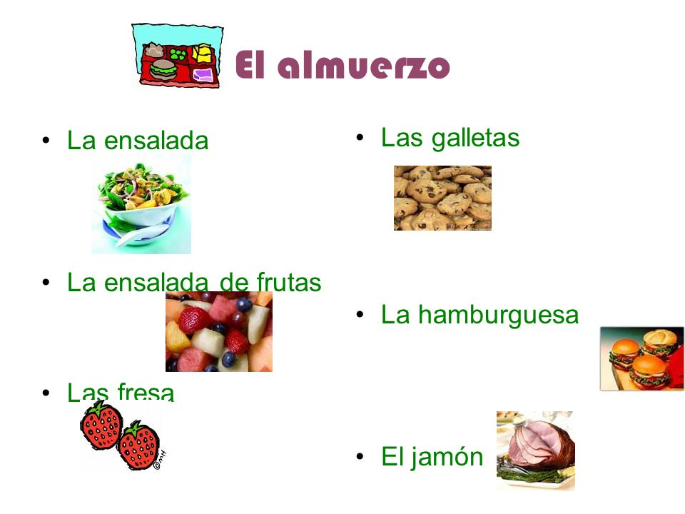 El almuerzo La ensalada La ensalada de frutas Las fresa Las galletas