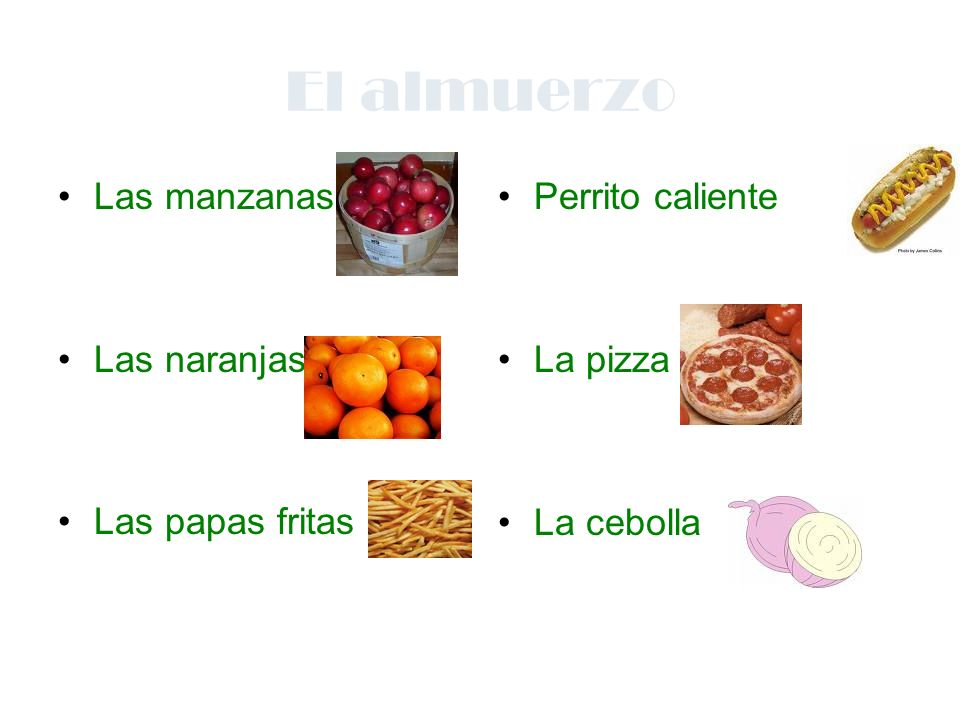 El almuerzo Las manzanas Las naranjas Las papas fritas