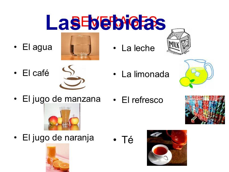 Las bebidas BEVERAGES Té El agua La leche El café La limonada
