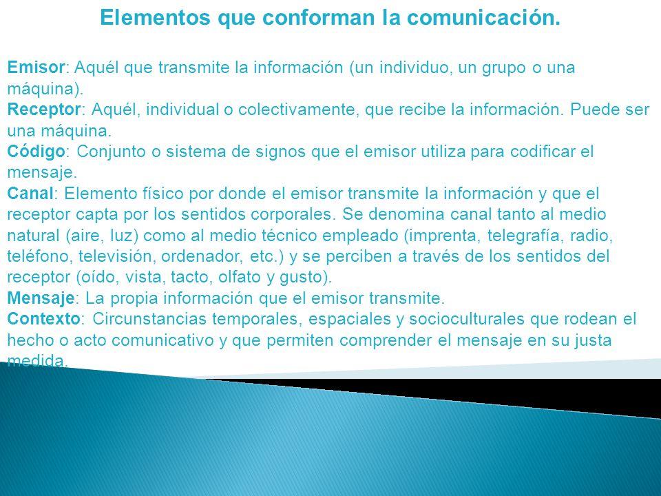 Elementos que conforman la comunicación.