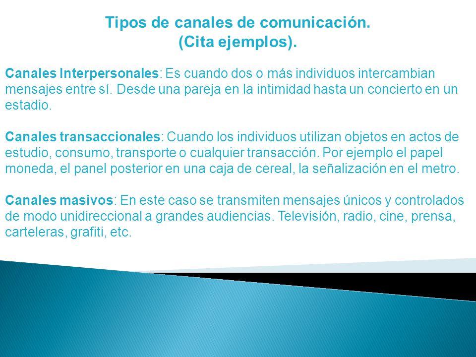 Tipos de canales de comunicación.