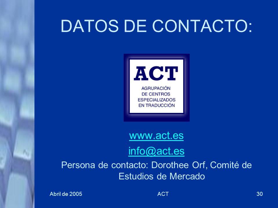 Persona de contacto: Dorothee Orf, Comité de Estudios de Mercado