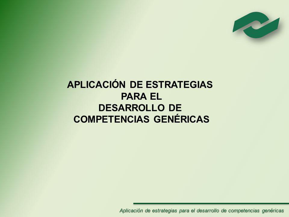 APLICACIÓN DE ESTRATEGIAS COMPETENCIAS GENÉRICAS